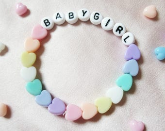 Babygirl Pastel Hearts Bracelet, Baby Girl Rainbow Heart Kandi Pastel Aesthetic Cyber Word Bracelet