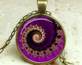 Purple fractal pendant, fractal art necklace, fractal jewelry, purple spiral necklace, purple spiral, Pendant #PA140BR