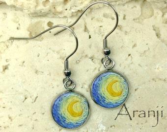 Van Gogh Starry Night earrings, Starry Night earrings, Starry Night moon earrings, Van Gogh earrings, moon earrings, art earrings AR116DP