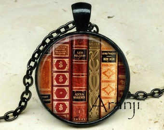 Book art pendant, book necklace, book jewelry, books, library necklace, library pendant, bookshelf necklace, Pendant #HG197BK