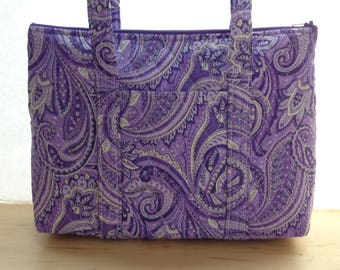 Purple Black White Paisley Print Quilted Purse
