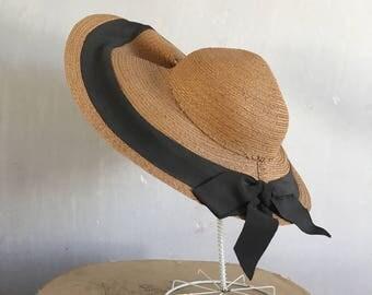 1940's Straw Hat | Wide Brim Straw Hat | Summer Hat