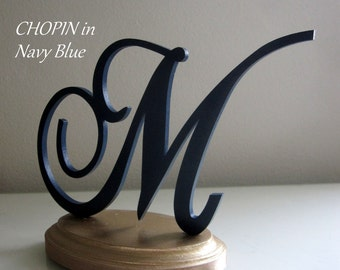 Navy Cake Topper, Letter Cake Topper, Wedding Cake Topper, Blue M Cake Topper, Birthday Cake Topper, Rustic Wood Topper, Shower Cake Topper