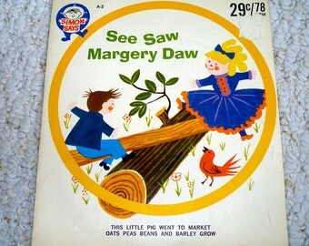 78 RPM Children's Record from 60s,  Nursery Rhymes Vintage Vinyl Record