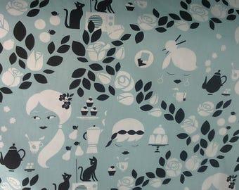 Tablecloth blue white black cat girl roses leaves Modern Scandinavian Design , napkins , runner , curtains , pillow covers , great GIFT