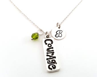 Courage (Reversible)- Silver- Swarovski Birthstone - Personalized Initial Necklace - Sterling Silver Jewelry - Gift for Her