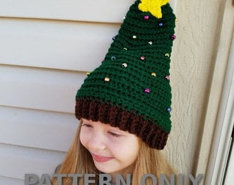 PDF Crochet Pattern for Crochet Christmas Tree Hat- Christmas Tree Hat- Crochet Christmas Tree Hat Pattern- Holiday Crochet Patterns-