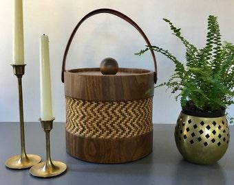 vintage vinyl woven faux bois ice bucket Elmar Mfg. boho barcart accessory