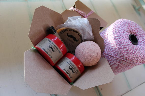 Takeout Spa Gift Set- Pick your Essential Oil-Organic Lotion, Foaming Sugar Scrub, Soap, Bath salts, Bath Bomb, Lip Balm