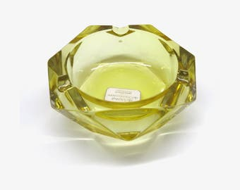 Heavy yellow glass ashtray | Walther Glass | West-German Vintage Glass / Barware