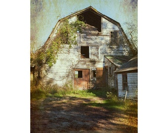Barn Photography, Rustic Home Decor, Farmhouse Decor, White Barn Print, Barn Landscape, Faded Barn Photo, Canvas Wrap or Print