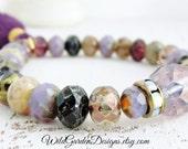 Lavender Fields Beaded Bracelet Purple Tassel Bracelet Smoky Lavender Boho Bracelet Rustic Artisan Glass Stretch Bracelet Gift For Her