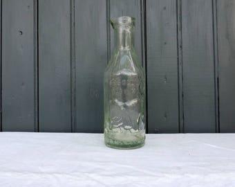 Vintage English milk bottle, absolutely pure milk bottle, the milk protector, green glass bottle