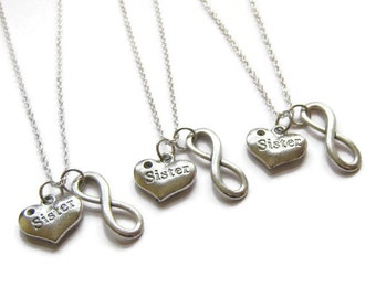 3 Infinity Heart Sisters Necklaces