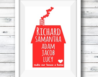 Personalised Family Print, Family print, Home Decor, Mother's Day Gift, Gift for her, New Home Gift, Valentines day, Family Names Print, Art