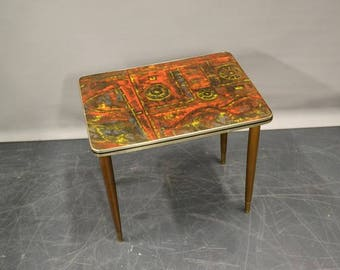 Retro multi colored laminated  top side table  - plant stand 1950 - 1960
