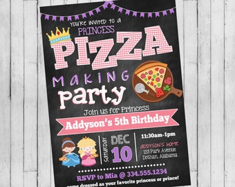 Pizza Party Invitation | Princess Pizza Birthday | Princess Birthday Invitation | Digital Invitation