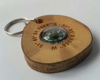 Coordinates wooden compass key rings handmade out of hazel, keyring, keychain, compass, gifts for men, personalized, fathers day gifts