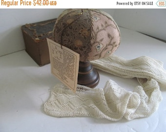 Year end Clearance Antique Sewing Pincushions Antique Victorian Quilted Pin Cushion on Wooden Pedestal  Sewing Notions, Sewing Room Decor, S
