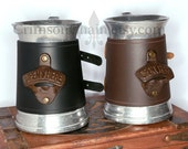 Mug with bottle opener - choose black or brown - by Crimson Chain leatherworks - SCA Larp Renactment Garb Costume