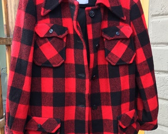 Vintage Red and Black Plaid Wool Barn Coat