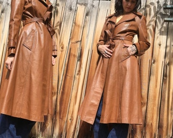 1970s Wilsons Leather Duster // Vintage Coat // Winter Jacket // Size 6