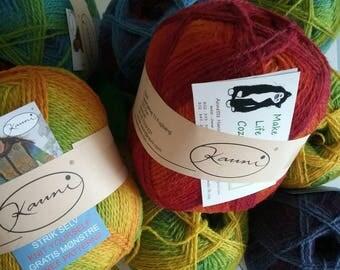 Rainbow Yarn Wool Kauni EQ  Regenbohen 2 ply gradient sport weight yarn. Knit Crochet and Felt. Imported from Denmark. Ships from USA