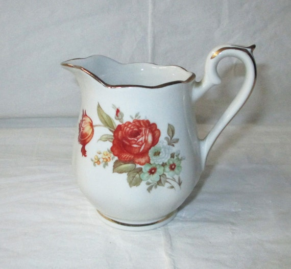 Vintage Hall China Drip-O-Lator Creamer, Made for Enterprise Aluminum Co, Roses (c. 1930s)