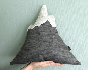 EVEREST Mountain pillow black. Stuffed toy. Sewed doll. Kids design. Child Plushie. Mountain softie. Kids decor doll peak. Ready to ship.
