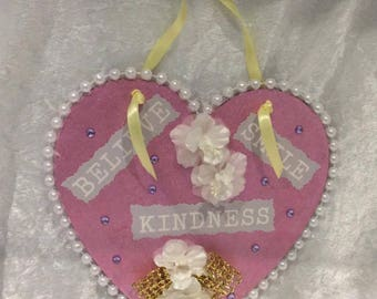 Sentiments Heart Pink with Pearls, words and Silk Flowers