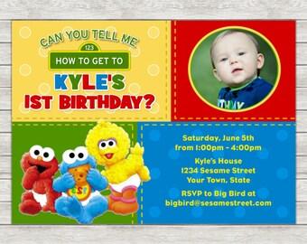 Sesame Street 1st Birthday Invitation - Printable File or Printed Invitations