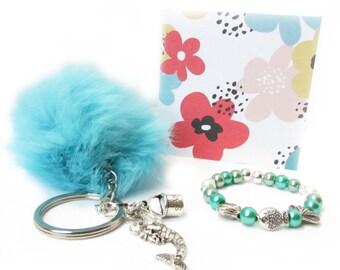 Girl's Bracelet, Kid's Gift, Mermaid Keychain, Mermaid Gift, Pom Pom Keychain, Valentine Gift, Easter Gift, Just Because Gift, Gift for Her