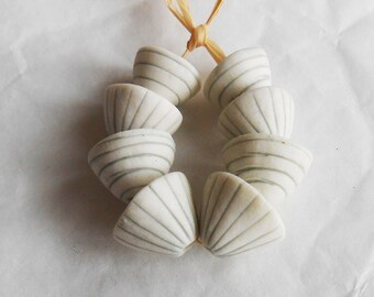 Zebra Striped Porcelain Beads Gray and White Porcelain Handmade in South Africa