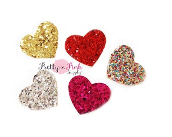 Glitter Heart Felt Embellishment - Heart Applique- Button- Embellishment- DIY Headband Supply