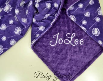 Personalized Baby Blanket - Amethyst Dandelion Minky - Amethyst Minky Dot - Custom Minky Baby Blanket - Monogrammed Blanket