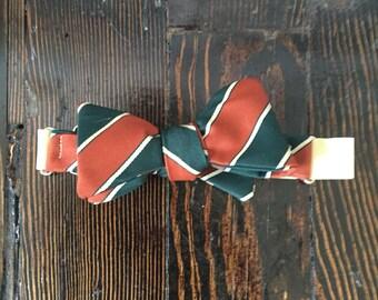Classic Stripe Bow Tie - Orange/Green
