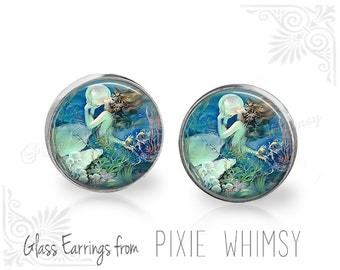 MERMAID Earrings, Mermaid Stud Earrings, Mermaid Post Earrings, Nautical Earrings, Stud Earrings, Post Earrings, Pierced Earrings, Pearl