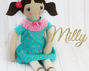 Rag Doll Pattern, 18 INCH Doll pattern, Toy sewing pattern pdf. how to make a doll, doll patterns, cloth doll patterns, MILLY PATTERN