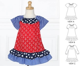 Baby Dress Patterns pdf, Peasant Dress Pattern, Baby Sewing Pattern PDF, Toddler Patterns, Baby Girls Sewing Pattern pdf, PEGGY Baby