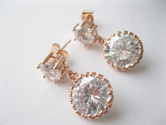 Rose Gold and Cubic Zirconia Drop Earrings Bridal Jewelry Modern Glamour Wedding Post Earring Bridesmaid Gift Elegant Wedding Jewelry