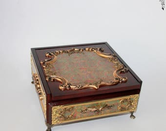 jewelry box / jewelry box, box,  wood, for jewelery  with mirror