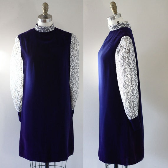 1960s blue velvet mini dress // lace sleeves // vintage dress