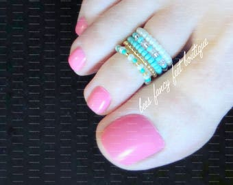 Stacking Toe Ring | Turquoise | Gold | Pattern | Stretch Toe Rings