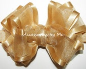 Infant Gold Bow Headband, Silver Baby Headbands, Organza Satin Skinny Band, Newborn Girls Child Hair Accessories, Flower Girl, Pageant Bows