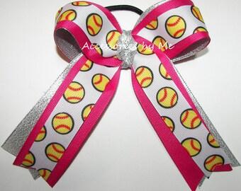 Softball Hair Bow, Sparkly Pink Softball Bows For Sale, Softball Bows, Girls Softball Pink Ponytail Ribbon Streamer, Soft Ball Breast Cancer
