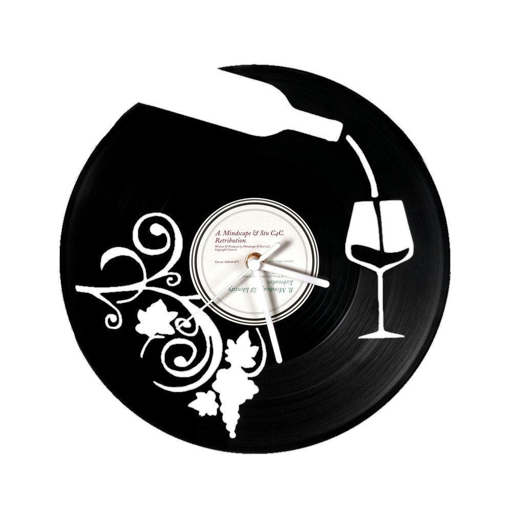 horloge vinyle vin. Black Bedroom Furniture Sets. Home Design Ideas