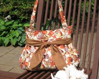 Ocean Shell Print Hobo Style Handbag