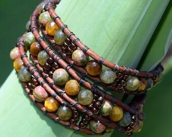 Three Wrap, Labradorite, Unikite, and Tiger-eye, Leather Bracelet, by Helen Jewelry, Earthy, Boho, Stones, Metaphysical