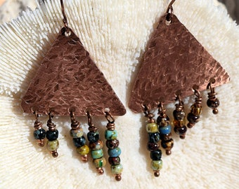 Oxidized Copper, Asymmetical Triangle Earrings, Patina Copper, by Helen Jewelry, Picasso Beads, Seed Beads, Jewelry, Jewellry, Unique