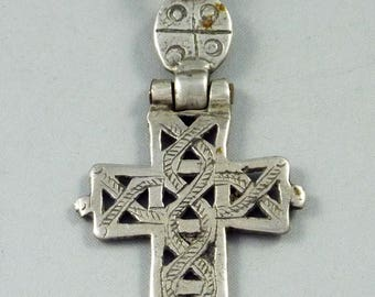 Old silver hinged Ethiopian cross, ethiopian amulet, ethnic tribal jewelry, Christian orthodox amulet, Oromo,  talisman jewelry